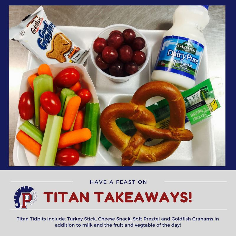 Titan Tid Bits Lunch Tray: Turkey stick, cheese snack, soft pretzel, goldfish grahams, milk, & fruit & veggie of the day